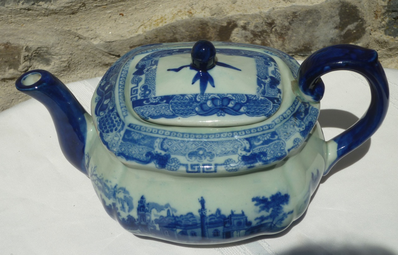 Antique Blue & White Transferware Teapot