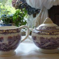 Purple Pastoral Milk Jug and Sugar Bowl