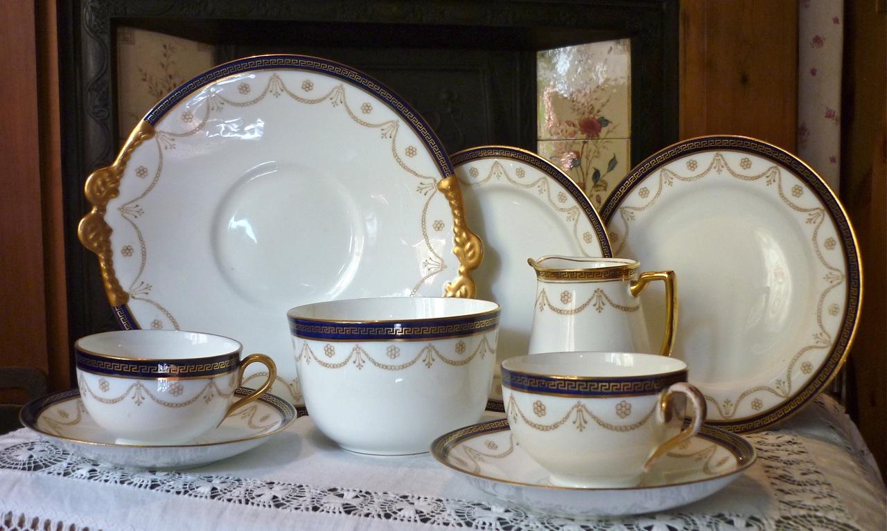 Adderleys Gold And Cobalt Blue Tea Set